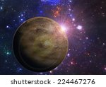 Deep space exoplanet planet illustration - stock photo