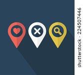 map pins set. flat design.... | Shutterstock .eps vector #224507446