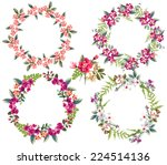 set of four tiny  flower wreaths