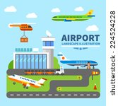 airport landscape. terminal and ... | Shutterstock .eps vector #224524228