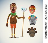 African Shaman Character With...