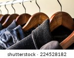 winter clothes hanged on a... | Shutterstock . vector #224528182