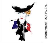 modern girl  sketch  red lips ... | Shutterstock .eps vector #224547676