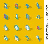 colorful vector isometric flat... | Shutterstock .eps vector #224553925