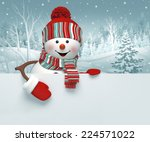 3d Cartoon Happy Snowman...