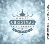 christmas retro typography and... | Shutterstock .eps vector #224577682