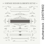 Vintage Vector Ornaments Decorations Design Elements. Flourishes calligraphic combinations retro design for Invitations, Posters, Badges, Logotypes and other design.  | Shutterstock vector #224578402