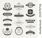 Retro Vintage Insignias or Logotypes set. Vector design elements, business signs, logos, identity, labels, badges and objects.    Shutterstock vector #224578726