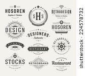 Stock vector retro vintage insignias or logotypes set vector design elements business signs logos identity 224578732