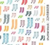 colorful socks collection fun... | Shutterstock .eps vector #224580058