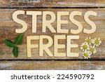 stress free written with wooden ... | Shutterstock . vector #224590792