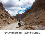 young cyclist standing on... | Shutterstock . vector #224596882