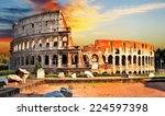 Great Colosseum On Sunset  Rome