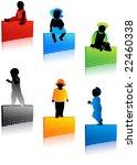 kids silhouettes | Shutterstock .eps vector #22460338