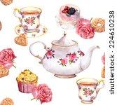 teatime   tea pot  teacup ... | Shutterstock . vector #224610238