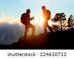 hiking couple looking enjoying... | Shutterstock . vector #224610712