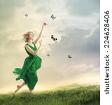 Beautiful Girl In A Green Dres...