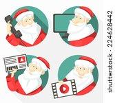 Set Of Cheerful Santa Clauses