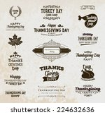 set of thanksgiving day labels. ...   Shutterstock .eps vector #224632636