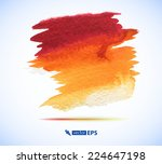vector watercolor orange ink... | Shutterstock .eps vector #224647198