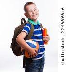 happy schoolboy with backpack ... | Shutterstock . vector #224669656