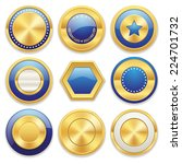 gold blank badge collection on... | Shutterstock .eps vector #224701732
