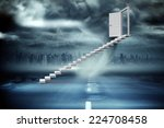 stairs leading to door against...   Shutterstock . vector #224708458