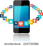 smart phone with cloud of... | Shutterstock .eps vector #224720386