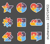 set of different puzzle objects ... | Shutterstock .eps vector #224724922