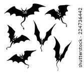silhouettes of bats demons | Shutterstock .eps vector #224736442