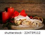 christmas stollen  dresdner... | Shutterstock . vector #224739112