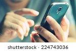 businessman using mobile smart... | Shutterstock . vector #224743036