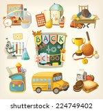 back to school set. elements of ... | Shutterstock .eps vector #224749402