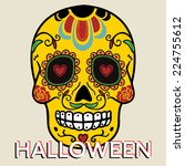 halloween card with mexican... | Shutterstock .eps vector #224755612