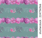 watercolor floral seamless...   Shutterstock .eps vector #224756566