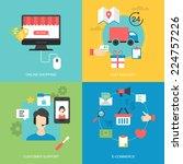 flat icons design for online... | Shutterstock .eps vector #224757226