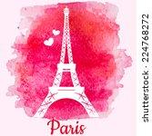 silhouette of eiffel tower on...   Shutterstock .eps vector #224768272