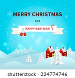 merry christmas greeting card... | Shutterstock .eps vector #224774746