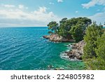 Amazing Adriatic Sea bay with pines and rocks - stock photo