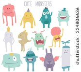 vector cute monsters set... | Shutterstock .eps vector #224806636