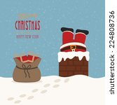 santa stuck in chimney gift bag ... | Shutterstock .eps vector #224808736