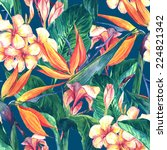 tropical seamless pattern with... | Shutterstock . vector #224821342
