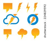 set of vector lightning icons. | Shutterstock .eps vector #224829592