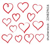 set of hand drawn hearts | Shutterstock .eps vector #224829616