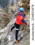 climber approaching a wooden... | Shutterstock . vector #224831878