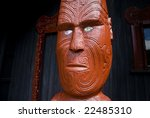 INVERCARGILL - Dec 27, 2008. Traditional carved ancestral figures are a central part of the New Zealand Maori culture, as seen here at Anderson Park in Invercargill on Dec 27, 2008. - stock photo