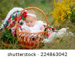 baby girl in a basket in the... | Shutterstock . vector #224863042