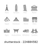 world landmarks outline icons ... | Shutterstock .eps vector #224884582