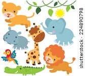 jungle animals vector... | Shutterstock .eps vector #224890798