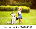 little girl in the park their... | Shutterstock . vector #224904982
